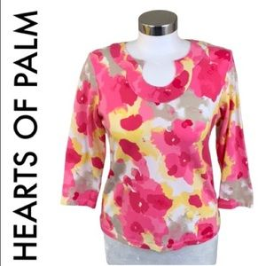 HEARTS OF PALM PINK YELLOW FLORAL TOP SIZE PS